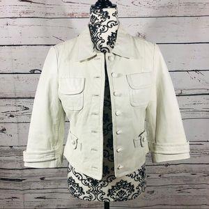 Bebe Leather Jacket Cropped White 3/4 sleeves S